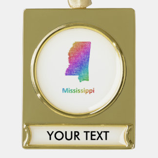 Mississippi Gold Plated Banner Ornament