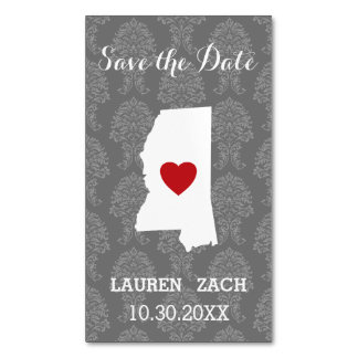 Mississippi Home State City Wedding Save the Date Magnetic Business Cards