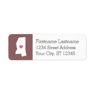 Mississippi Home State Love with Custom Heart Return Address Label