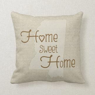 Mississippi-Home Sweet Home burlap-look w/name Cushion