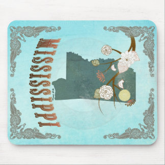 Mississippi Map With Lovely Birds Mouse Pad
