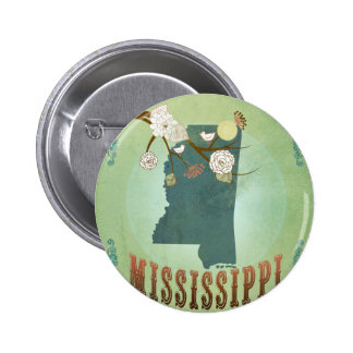 Mississippi Modern Vintage State Map – Green Pinback Button