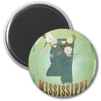 Mississippi Modern Vintage State Map – Green Fridge Magnets