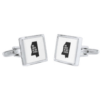 Mississippi: No Hate In My State Silver Finish Cufflinks