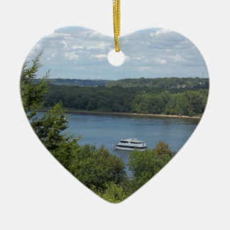 Mississippi River boat Ceramic Heart Decoration