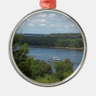 Mississippi River boat Silver-Colored Round Decoration