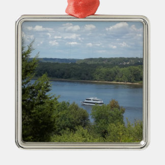 Mississippi River boat Silver-Colored Square Decoration