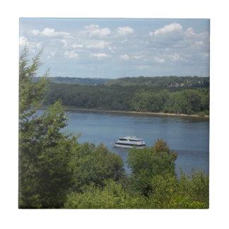 Mississippi River boat Small Square Tile