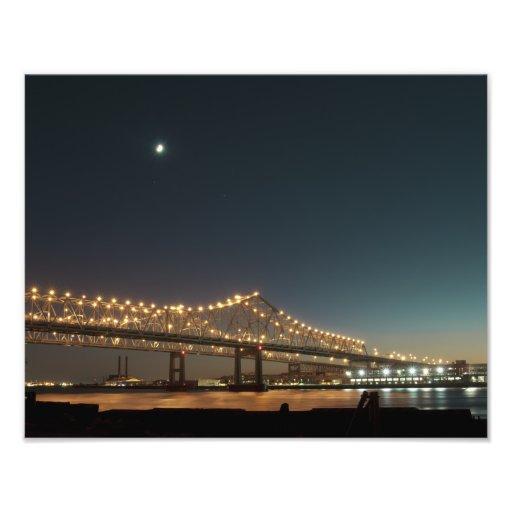 Mississippi River Bridge at Night Photographic Print