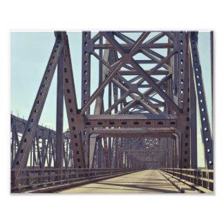 Mississippi River Bridge Trusses Photographic Print