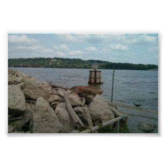 Mississippi River from the port of dubuque Poster