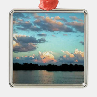 Mississippi River Pink Sunset Metal Ornament
