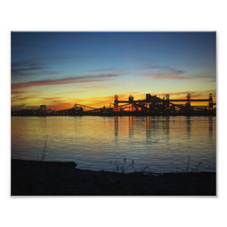 Mississippi River Sunset and Grain Loader Silhouet Photo Print