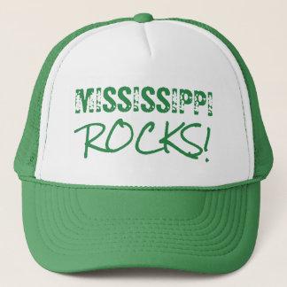 MISSISSIPPI Rocks Words Green Trucker Hat
