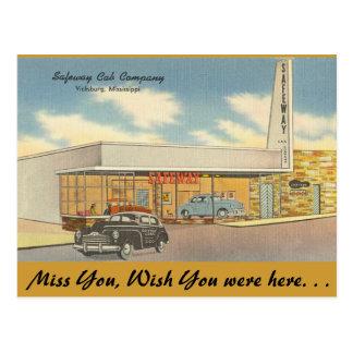 Mississippi, Safeway Cab Co., Vicksburg Postcard