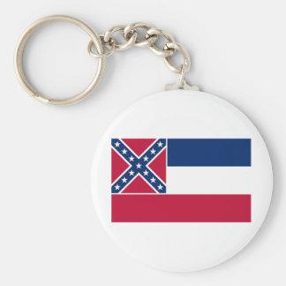 Mississippi State Flag Basic Round Button Key Ring