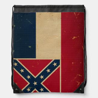 Mississippi State Flag VINTATE.png Drawstring Backpacks