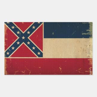 Mississippi State Flag VINTATE.png Rectangular Sticker