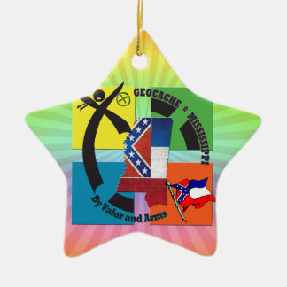MISSISSIPPI STATE MOTTO GEOCACHER CERAMIC STAR DECORATION