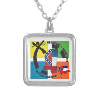 MISSISSIPPI STATE MOTTO GEOCACHER SILVER PLATED NECKLACE