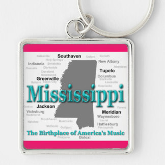 Mississippi State Pride Map Silhouette Keychains
