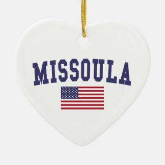 Missoula US Flag Ceramic Ornament