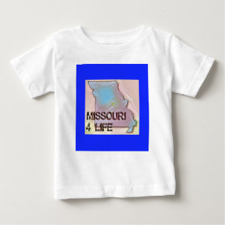 """Missouri 4 Life"" State Map Pride Design Baby T-Shirt"
