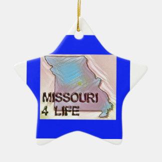 """Missouri 4 Life"" State Map Pride Design Ceramic Ornament"