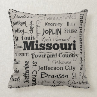 Missouri cities throw pillow in gray taupe/black