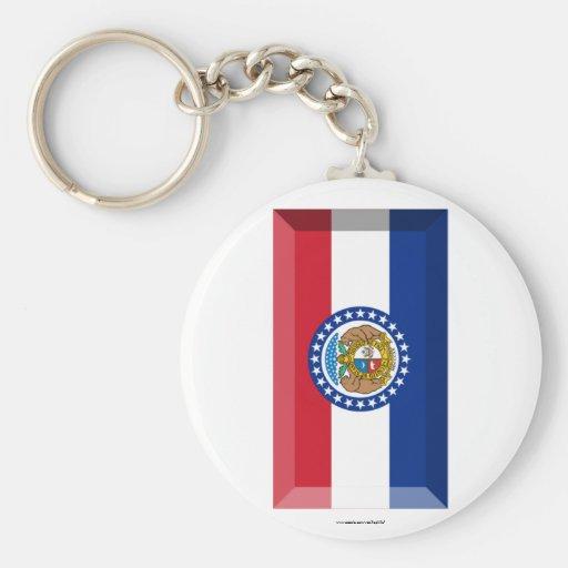 Missouri Flag Gem Keychain