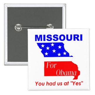 Missouri for Obama 15 Cm Square Badge