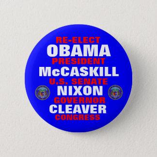 Missouri for Obama McCaskill Nixon Cleaver 6 Cm Round Badge