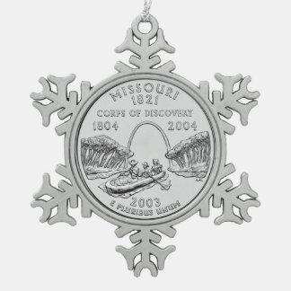 Missouri State Quarter Snowflake Pewter Christmas Ornament