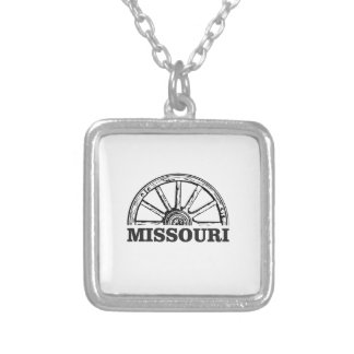 missouri wagon wheel silver plated necklace