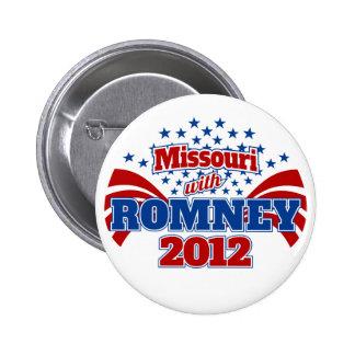 Missouri with Romney 2012 6 Cm Round Badge