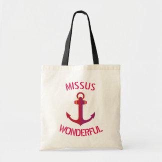 Missus Wonderful Red Anchor Nautical Theme Tote Bag