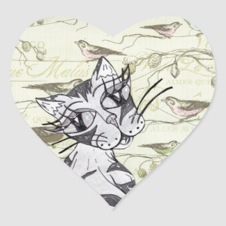 Missy Cat 01 Heart Sticker