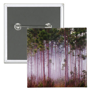 Mist among pine trees at sunrise, Everglades 15 Cm Square Badge