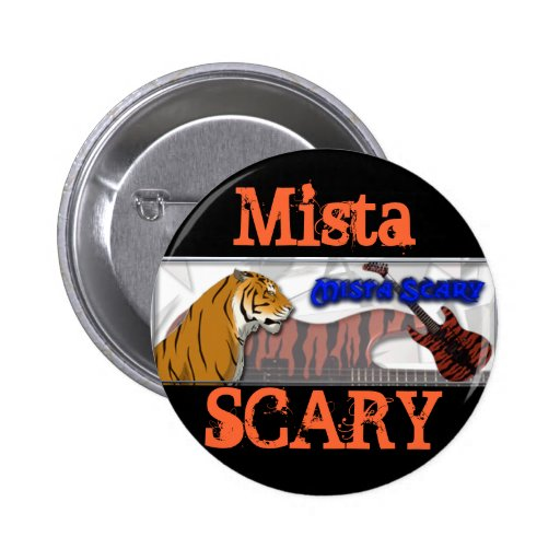 Mista Scary Bengal Tiger Blue Orange logo Button