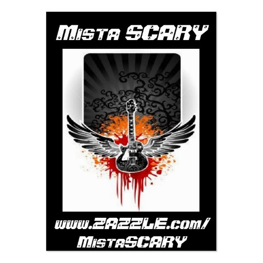 Mista SCARY Bloody Winged Guitar Profile Card Business Card Template