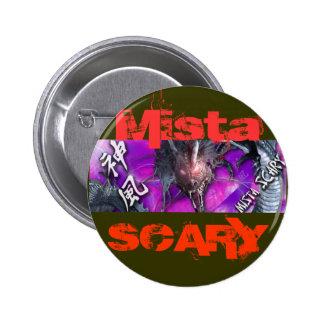 Mista SCARY  Bright Purple Dragon Red logo Button