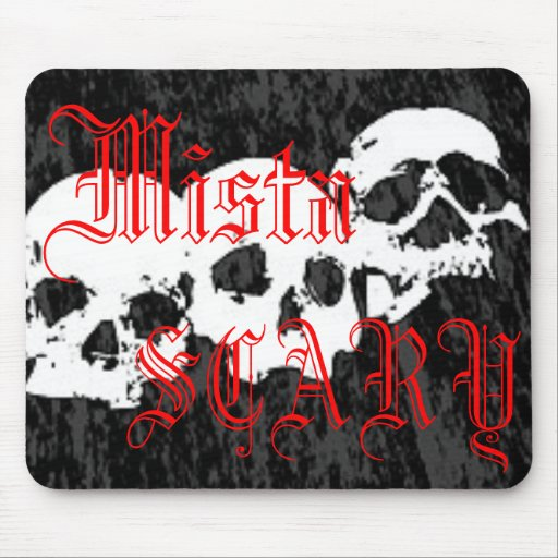 Mista SCARY Skulls Red Logo Mousepad