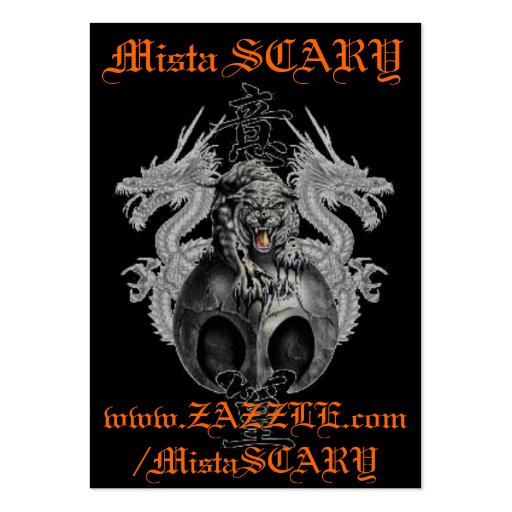 Mista SCARY Tiger & Dragons Profile Card Custom Business Card Template