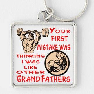 Mistake Was Thinking I Was Like Other Grandfathers Silver-Colored Square Key Ring
