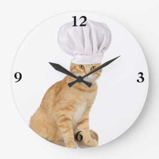 Mister Cat Chef To You Large Clock