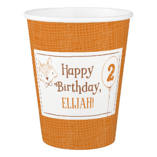 Mister Fox Second Birthday Personalized Paper Cup