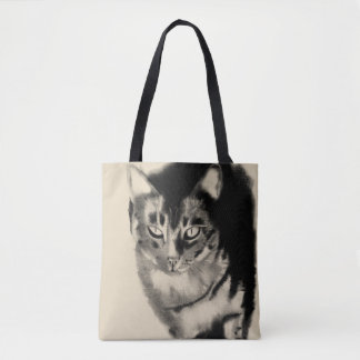 Mister my tabby cat charcoal drawing tote bag