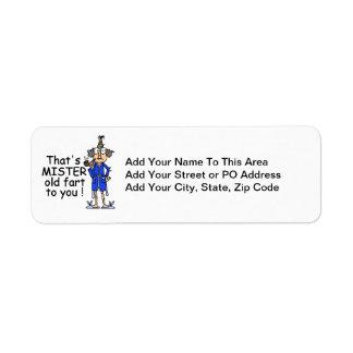 Mister Old Fart Birthday Humor Return Address Label