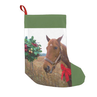 Mistletoe and brown horse red bow small christmas stocking