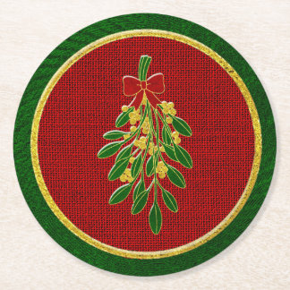 Mistletoe and Burlap Country Christmas Round Paper Coaster